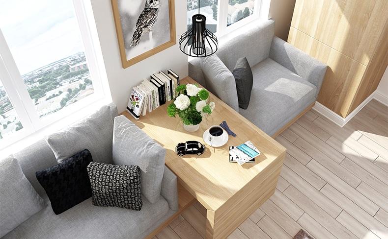 リビングルームのソファとサイドテーブル